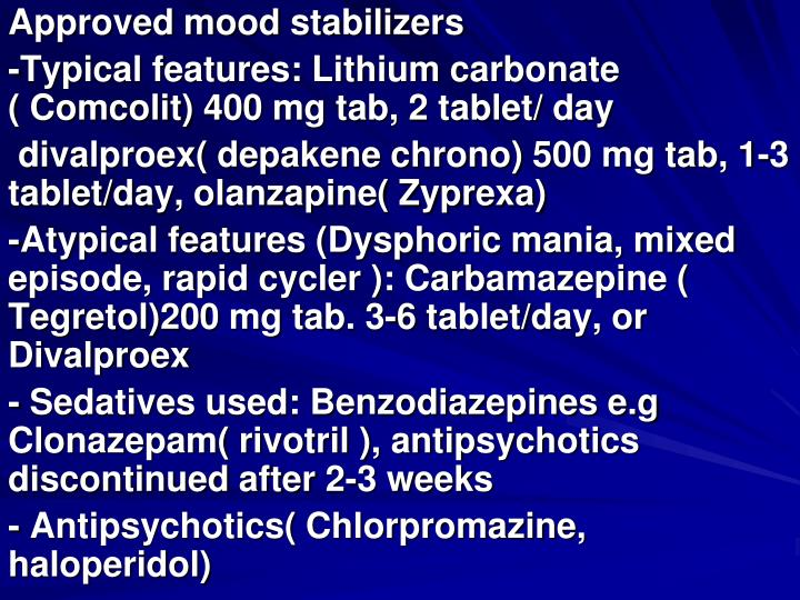 Approved mood stabilizers