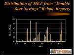 distribution of mef from double your savings rebate reports