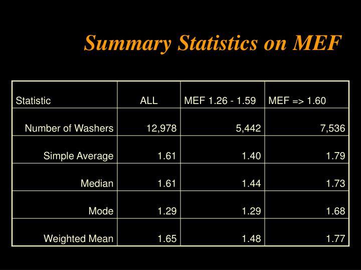 Summary Statistics on MEF