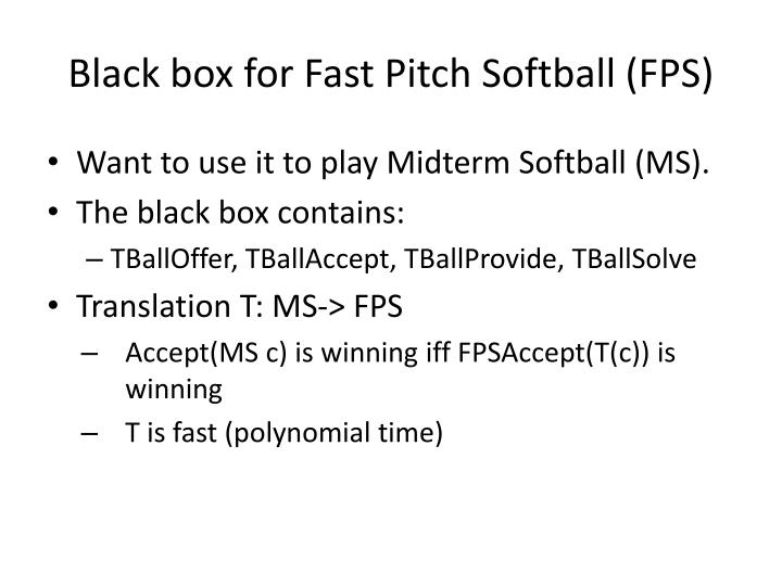 Black box for Fast Pitch Softball (FPS)