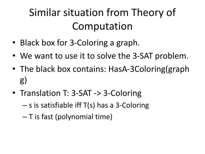 Similar situation from Theory of Computation