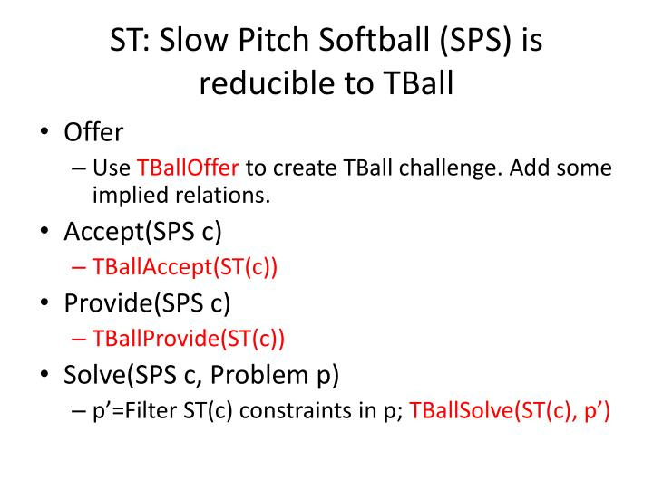 ST: Slow Pitch Softball (SPS) is reducible to