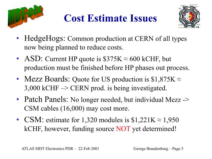 Cost Estimate Issues