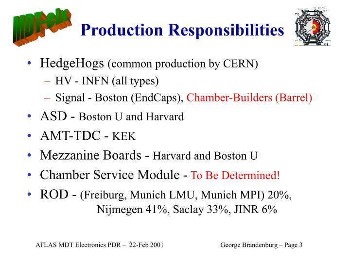 Production Responsibilities