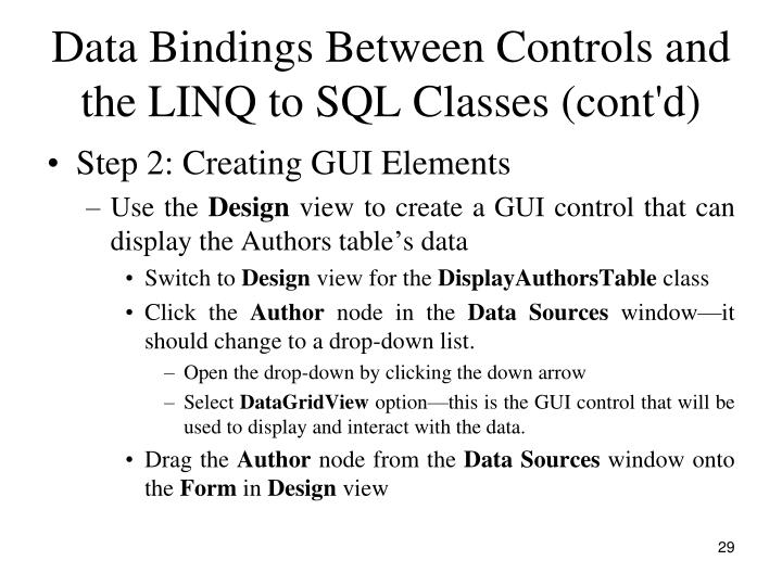 Data Bindings Between Controls and the LINQ to SQL Classes (cont'd)
