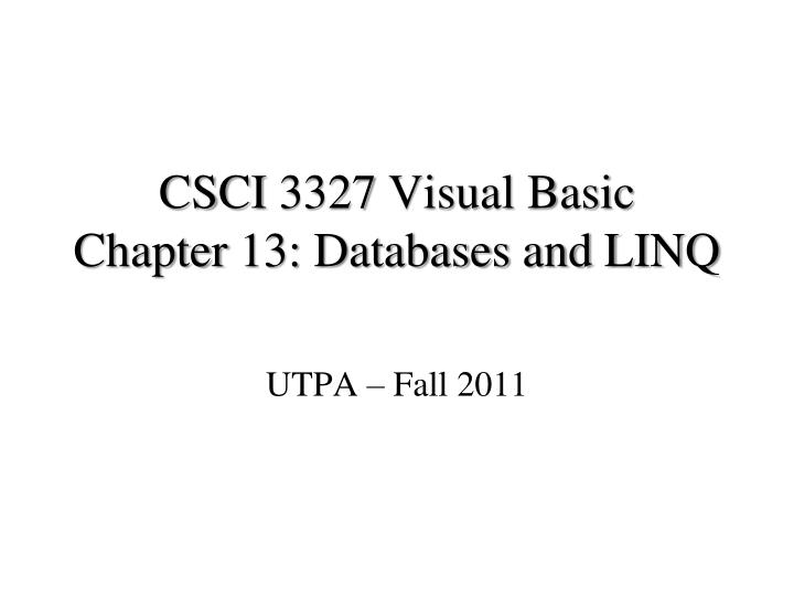 CSCI 3327 Visual Basic