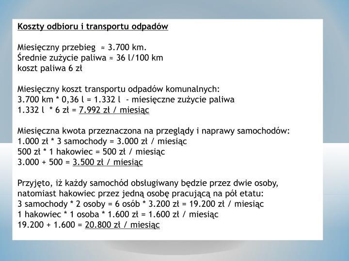 Koszty odbioru i transportu odpadów