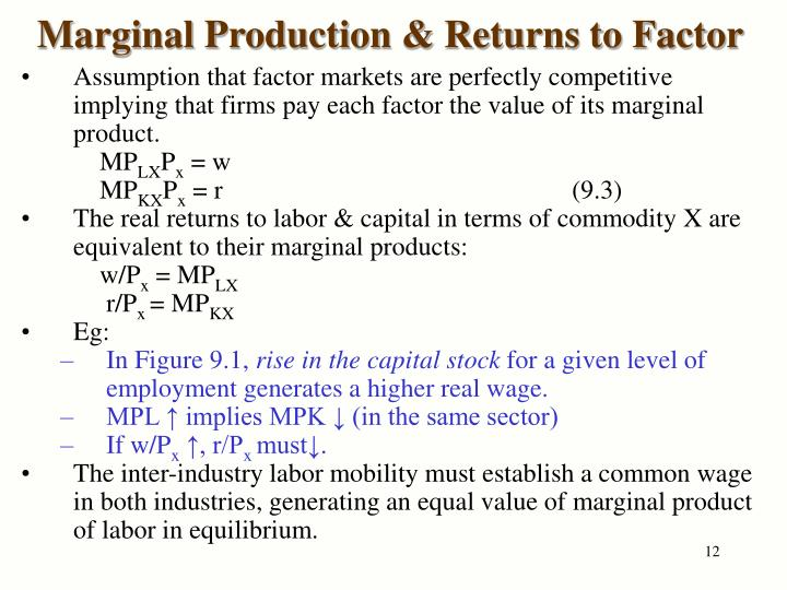 Marginal Production & Returns to Factor