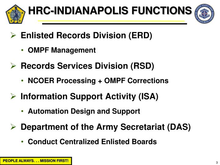 HRC-INDIANAPOLIS FUNCTIONS
