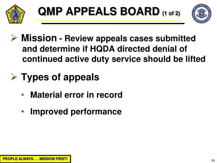 QMP APPEALS BOARD