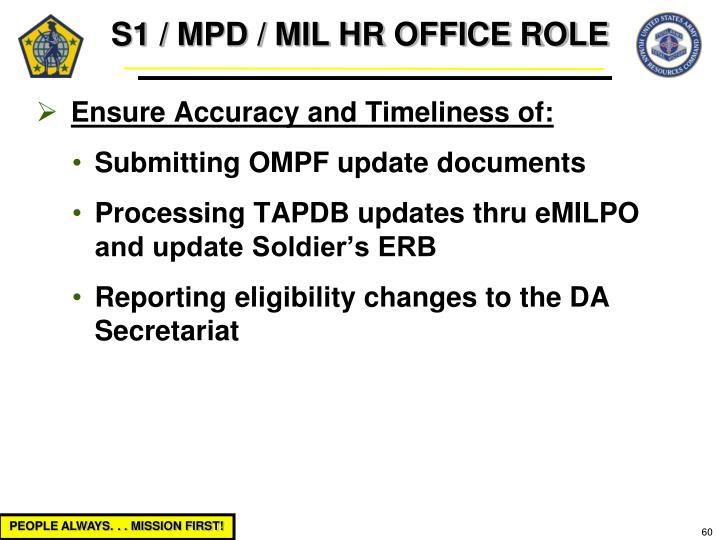 S1 / MPD / MIL HR OFFICE ROLE