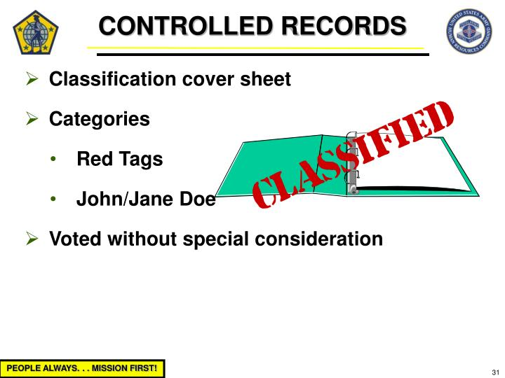 CONTROLLED RECORDS