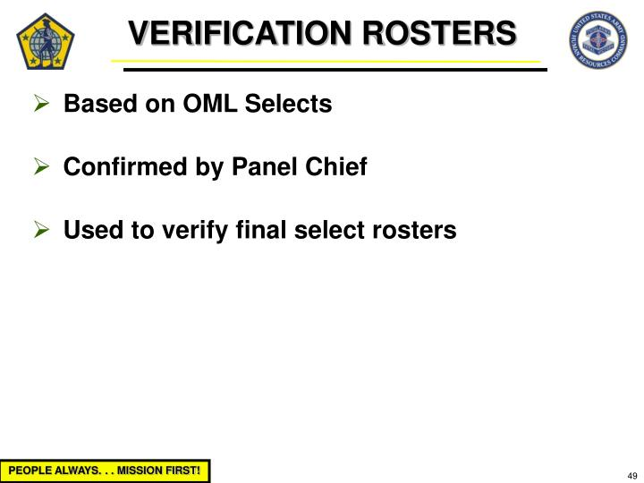 VERIFICATION ROSTERS