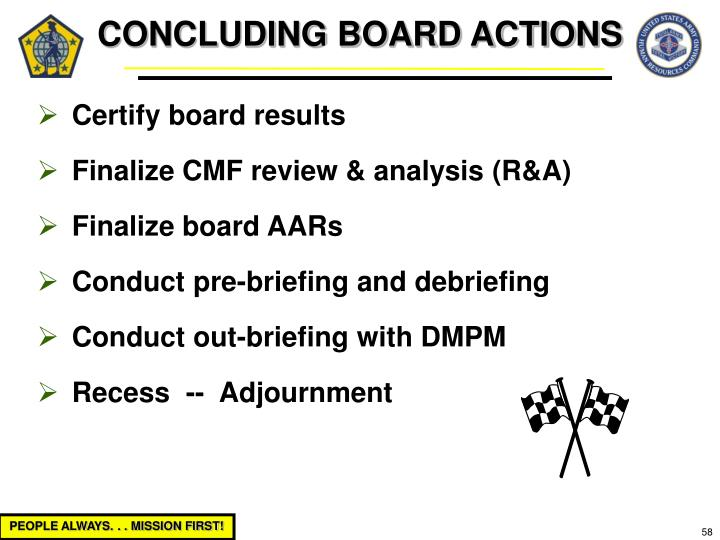 CONCLUDING BOARD ACTIONS
