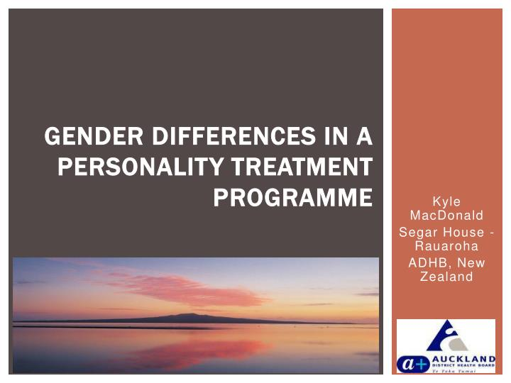 Gender differences in a personality treatment programme