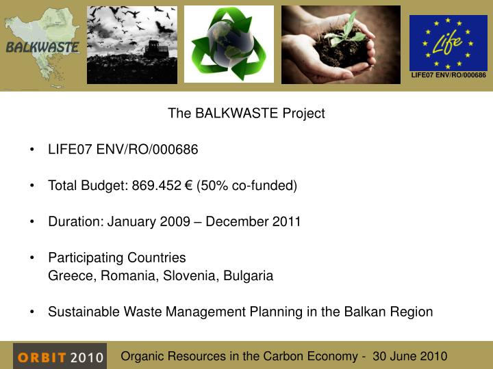The BALKWASTE Project