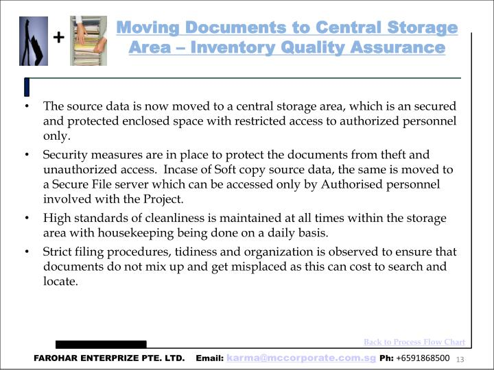 Moving Documents to Central Storage Area – Inventory Quality Assurance