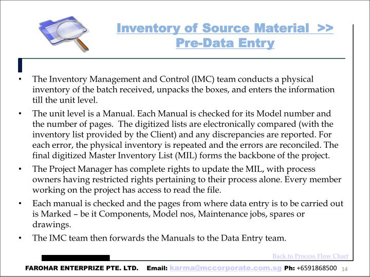 Inventory of Source Material  >> Pre-Data Entry