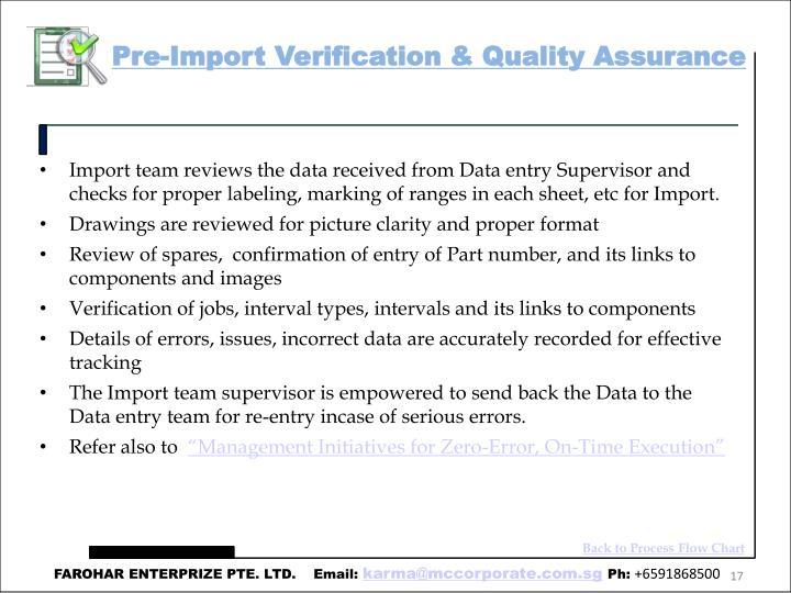 Pre-Import Verification & Quality Assurance