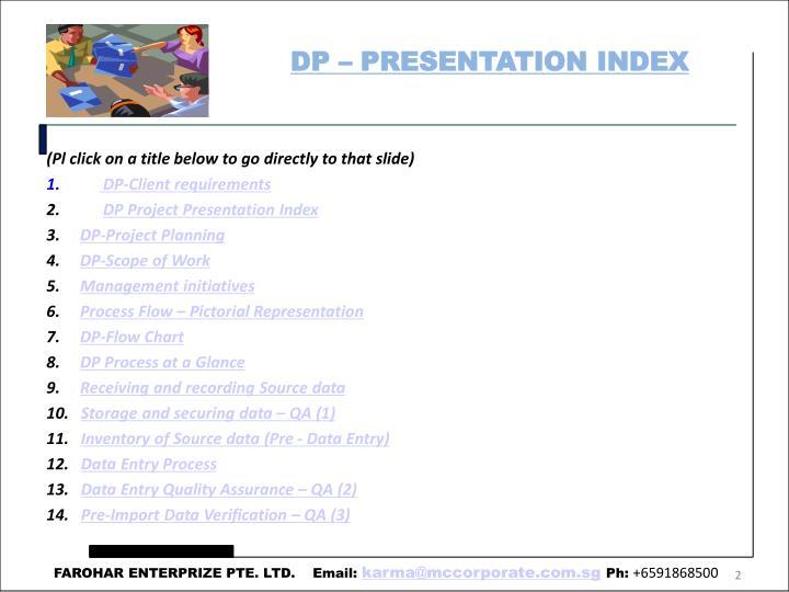 DP – PRESENTATION INDEX