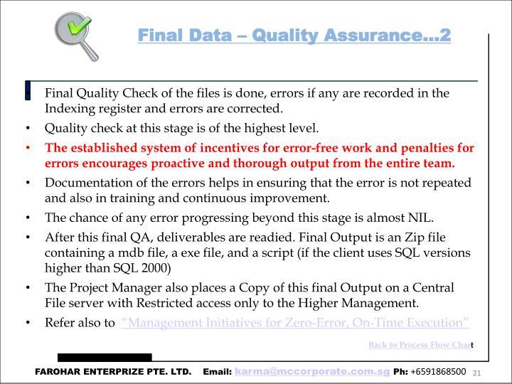 Final Data – Quality Assurance…2