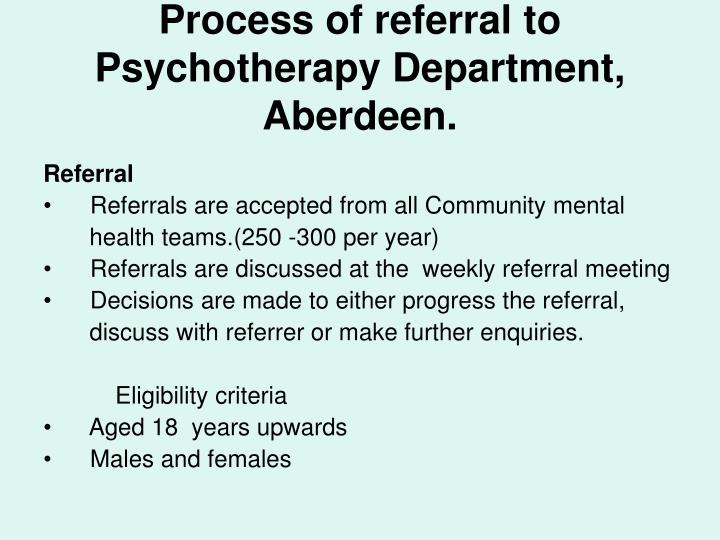 Process of referral to Psychotherapy Department, Aberdeen.