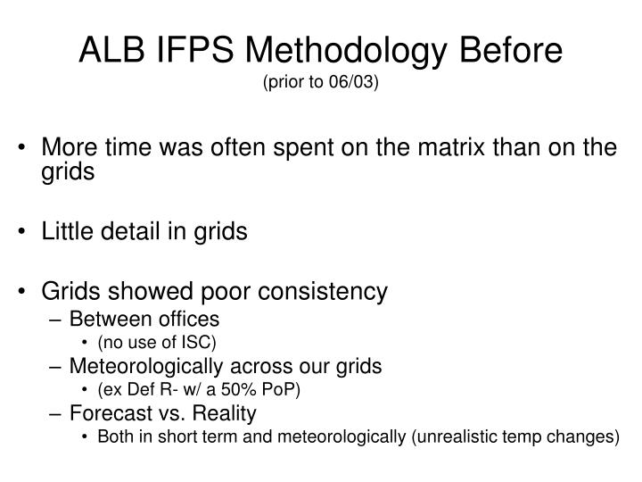 Alb ifps methodology before prior to 06 031