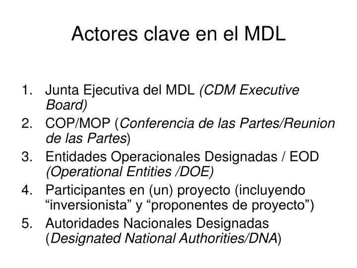 Actores clave en el MDL