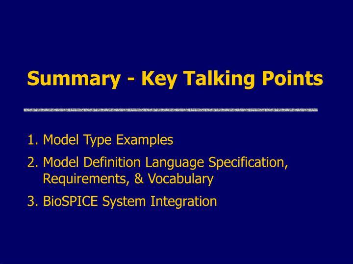 Summary - Key Talking Points