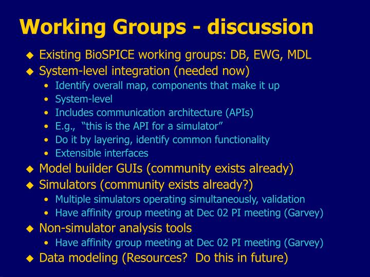 Working Groups - discussion