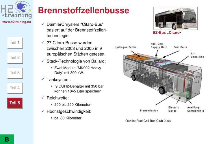 """DaimlerChryslers """"Citaro-Bus""""  basiert auf der Brennstoffzellen-technologie."""