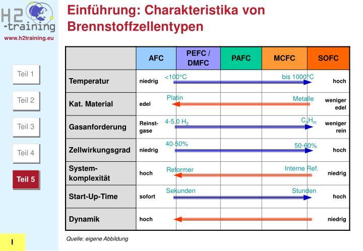 Einführung: Charakteristika von Brennstoffzellentypen