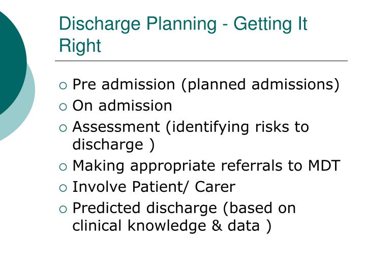 Discharge planning getting it right