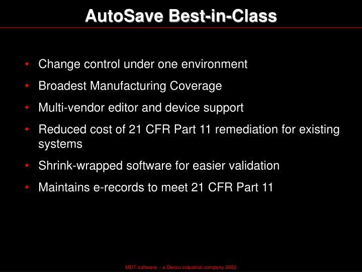 AutoSave Best-in-Class