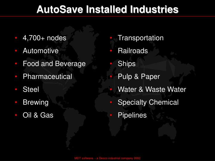 AutoSave Installed Industries