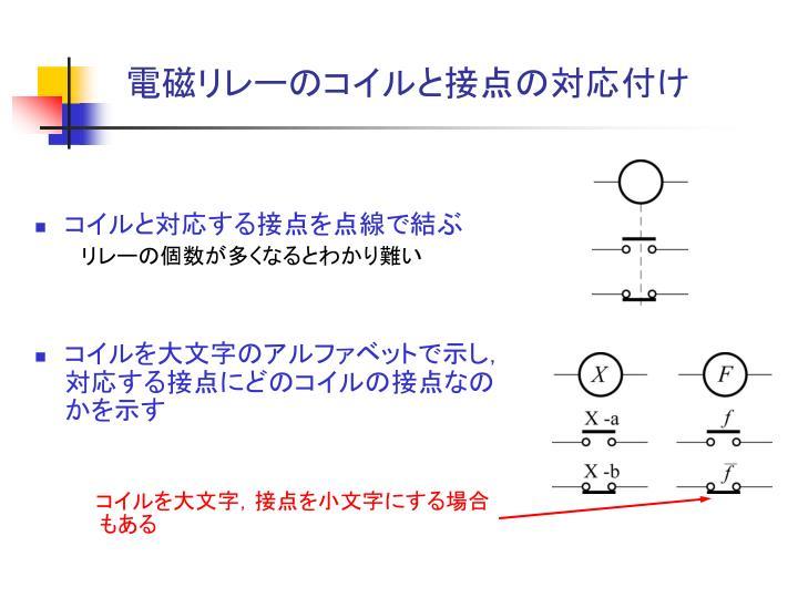 電磁リレーのコイルと接点の対応付け