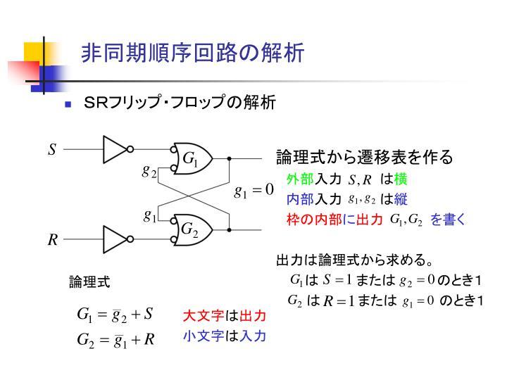 非同期順序回路の解析