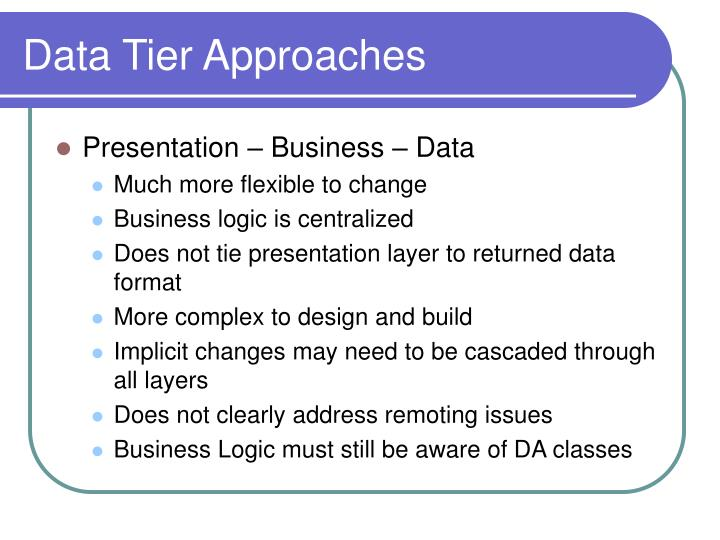 Data Tier Approaches