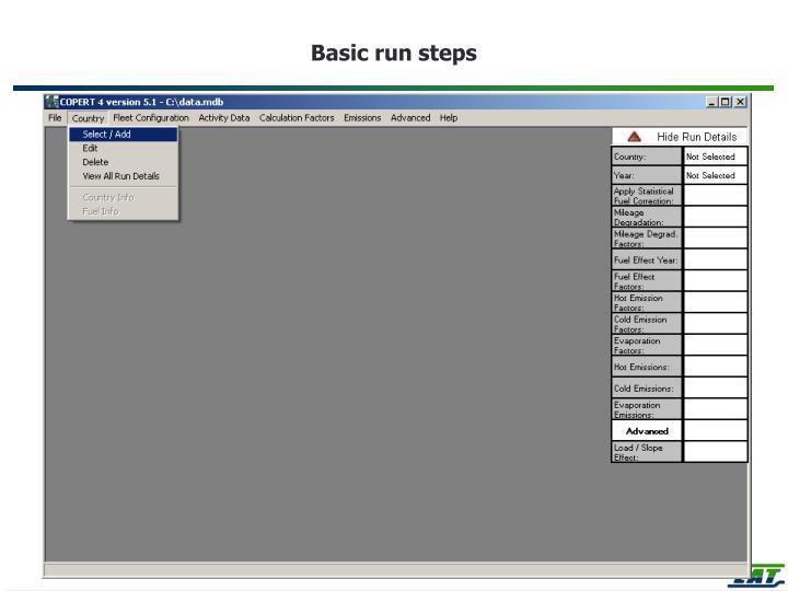 Basic run steps