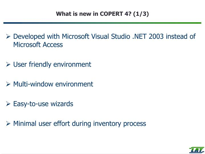 What is new in COPERT 4? (1/3)