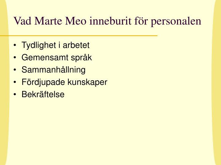 Vad Marte Meo inneburit för personalen