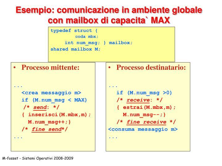 Esempio: comunicazione in ambiente globale