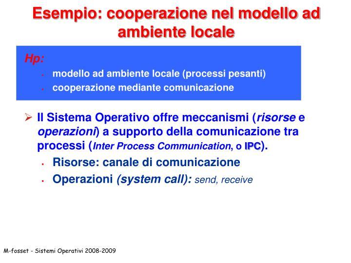 Esempio: cooperazione nel modello ad ambiente locale