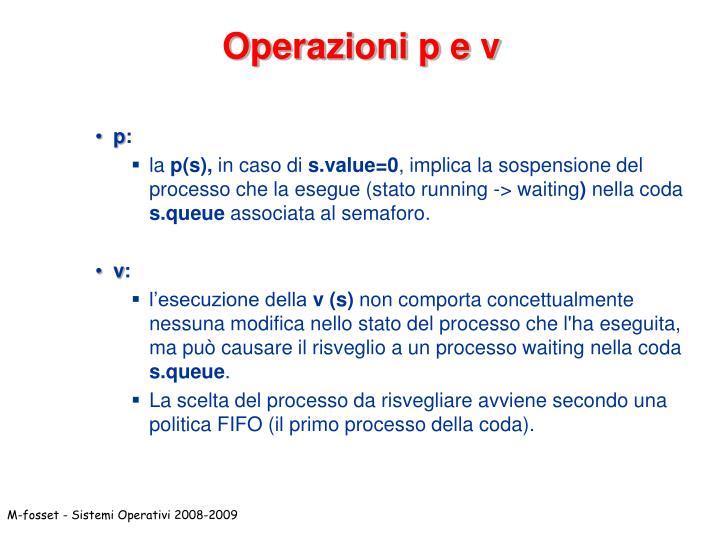 Operazioni p e v