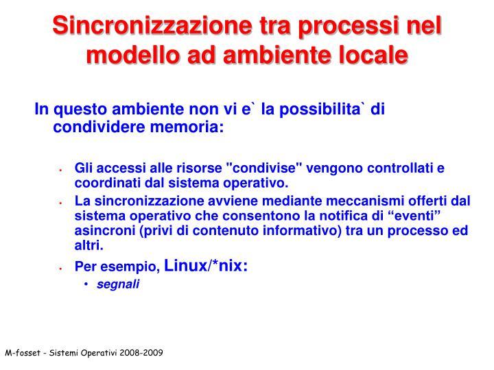 Sincronizzazione tra processi nel modello ad ambiente