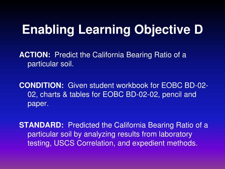 enabling learning objective d