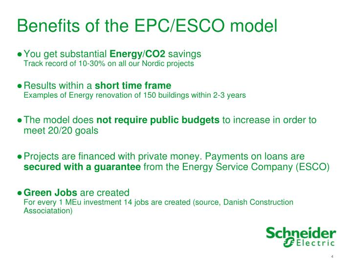 Benefits of the EPC/ESCO model