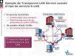 ejemplo de transparent lan service usando el tipo de servicio e lan