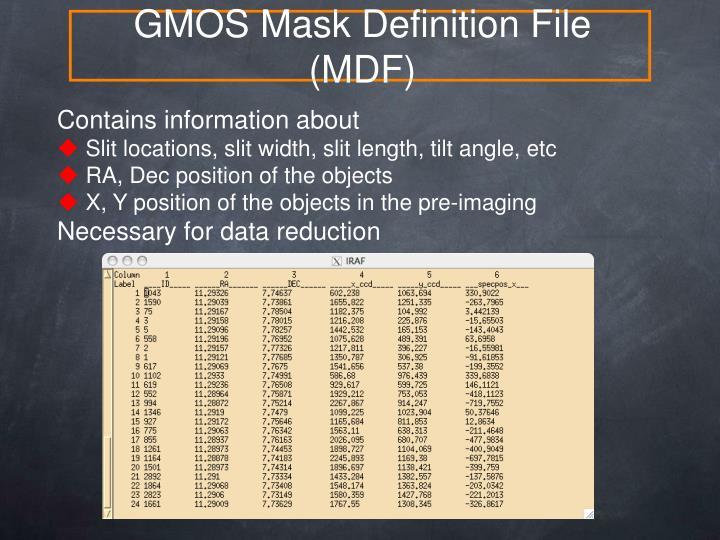 GMOS Mask Definition File (MDF)