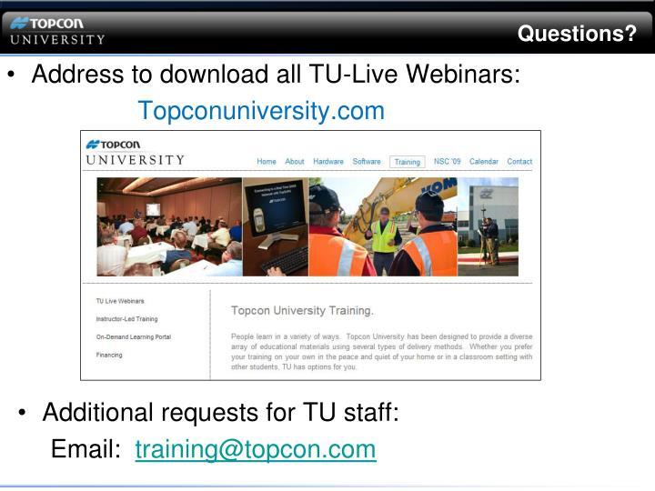 Address to download all TU-Live Webinars: